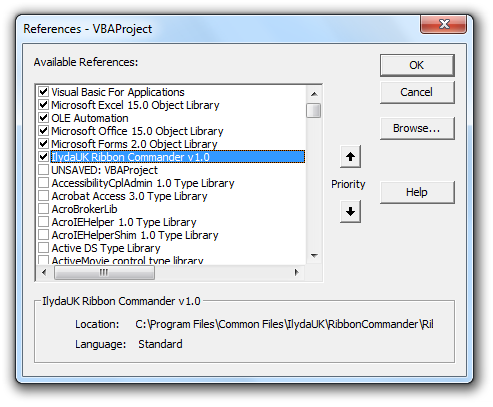 Referencing the Ribbon Commander library in VBA - Ribbon